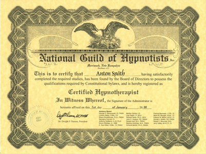 Zertifikat der National Guild of Hypnotists - Straubing, Deggendorf, Passau, Cham, Weiden, Furth